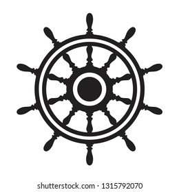 vector steering wheel of a ship, boat or yacht isolated on white background. rudder direction concept. nautical or travel symbol. wooden steer wheel