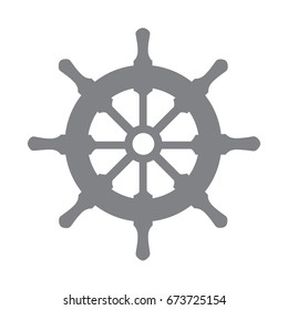 Vector steering wheel for a ship or boat. Nautical symbol.