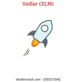 Vector Stellar (XLM) digital cryptocurrency logo. Stellar (XLM) icon. Vector illustration isolated on white background.