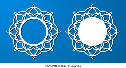 Vector Stencil lacy round frame with carved openwork pattern. Template for interior design, decorative art objects etc. Image suitable for laser cutting, plotter cutting or printing. Stock vector