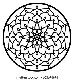 Vector Stencil lacy round ornament Mandala with carved openwork pattern. Template for interior design, decorative art objects etc. Image suitable for laser, plotter cutting or printing. Stock vector