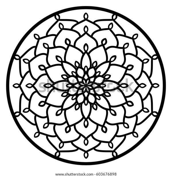 Vector Stencil Lacy Round Ornament Mandala Stock Vector