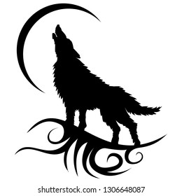 Vector stencil of wolf tattoo at night howling at the moon. Done on an isolated white background.
