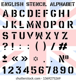 Vector. Stencilled font of the English alphabet, numbers and punctuation marks.