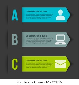 Vector step options banners and letters A, B, C, design template for web site. Vector illustration.