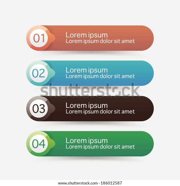 Vector Steps Progress Banners Colorful Tags Stock Vector