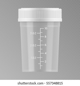 Vector sterile plastic medical container. Blank template of clear empty transparent jar for urine or liquid for laboratory analysis. Realistic 3d mock-up isolated on grey background