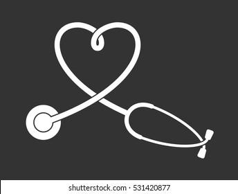 Vector stethoscope pictogram | Heart shape medical illustration