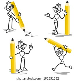Vector stick figure set: Stickman holding pencil, standing, running, pointing and drawing.