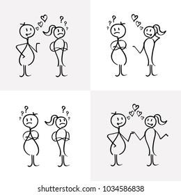 Vector stick figures relationship between lovers.
