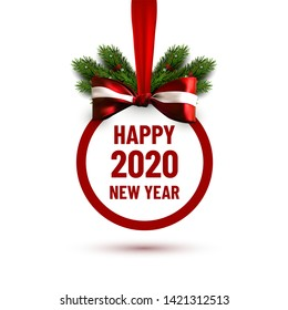 Vector sticker with bow and christmas tree branches. Happy 2020 new year