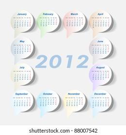 Vector sticker calendar 2012 year