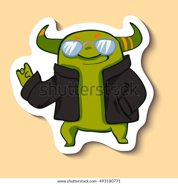 Vector sticker with cool monster. green monster with cool glasses on yellow background. Cool guy. So cool!