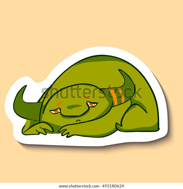 Vector sticker with cute sad monster on yellow background. Little green sad monster is laying. Bad mood. Tired. Sad and unhappy.