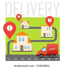 Vector Sticker for Delivery Service. Illustration with Red Cartoon Car in the Small City. Cover Design