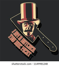 Vector Sticker Gentleman in a Cylinder Hat and Butcher's Knife