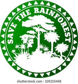 vector Sticker with jungle and text Save the Rainforest