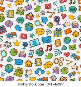 Vector Sticker mobile apps pattern: email magnifying glass shopping search notebook laptop cloud wireless hand music chat gallery speaking bubble with shadow on a white background