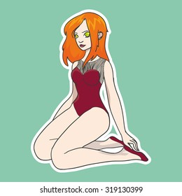 Vector sticker with red haire girl on simple background. Vector illustration with cute girl on  green background.