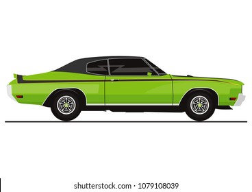 Vector sticker of retro muscle car. Side view. Flat vector.