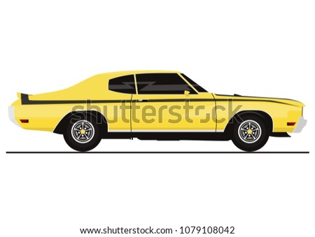 Vector Sticker Retro Muscle Car Side Stock Vector Royalty Free