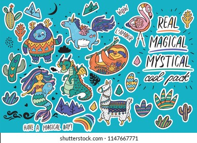 0f1c03dc5d71a Vector sticker set with real, magical and mystical animals. Yeti and unicorn,  dragon