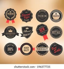 Vector and sticker set of vintage labels