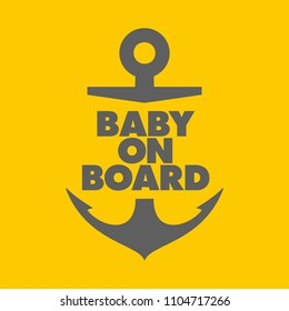 Vector stickers anchor Baby on Board