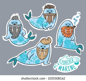 Vector stickers with cartoon characters of funny walruses with different haircuts, beards and tattoos. Hand-drawn patches, stickers, pins