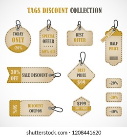 Vector stickers, price tag, banner, label. Coupon sale, offers and promotions vector template. Tags discount collection.