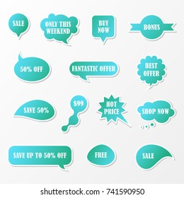 Vector stickers, price tag, banner, speech bubbles, label.