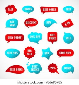 Vector stickers, price tag, banner, label. Coupon sale, offers and promotions vector template.