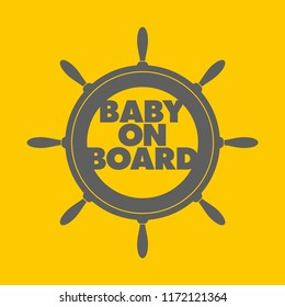 Vector stickers rudder Baby on Board