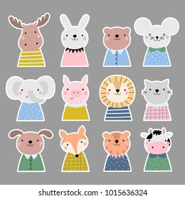 Vector stickers set with cute animals.