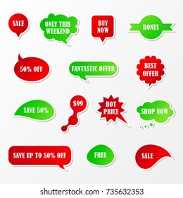 Vector stickers, speech bubbles, banner, speech bubbles, label. Coupon sale, offers and promotions vector template.