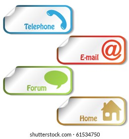 Vector stickers - telephone, email, home, forum