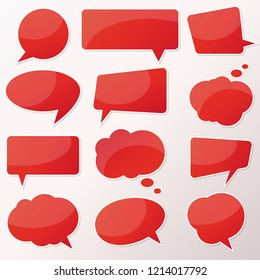 Vector stickers thought, speech bubbles, banner, label, cloud. Coupon sale, offers and promotions vector template. Talk balloon. Quote box. Text, information frame. Banner and badge.