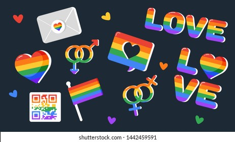 Vector stikers set doodles. Pride LGBTQ icon set, LGBTQ related symbols set in rainbow colors: Pride Flag, Heart, Peace, Rainbow, Love, Support, Freedom Symbols. Gay Pride Month