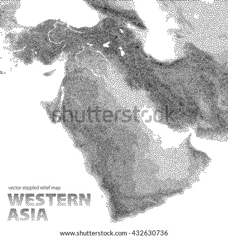 Vector Stippled Relief Map Western Asia Stock Vector (Royalty Free ...