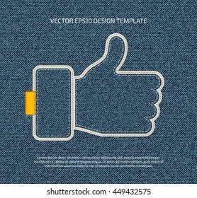 Vector stitched denim applique style thumb up symbol icon.