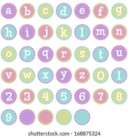 Vector Stitched Scalloped Lowercase Alphabet
