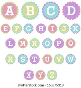 Vector Stitched Scalloped Uppercase Alphabet