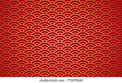 Vector stock Abstract Chinese traditional oriental ornament gold and red clouds new year background with beautiful gold asian style pattern seamless.