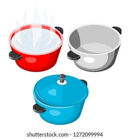 Vector stock boiling pan  set on white background collection of kitchen item with lid isolated object illustration cooking saucepan red, blue cast iron