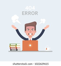 Vector stock of a businessman feeling angry and frustrated in front of his laptop.