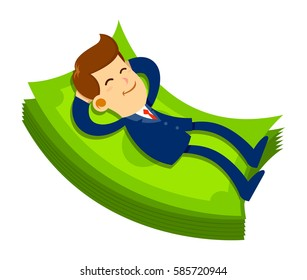 Vector stock of a businessman with a happy face sleeping on pile of money