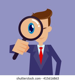 Vector stock of businessman looking through magnifying glass, focusing
