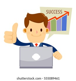 Vector stock of a businessman with a successful sales chart doing thumbs up while working behind his laptop