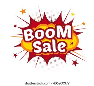 Vector stock of comic explosion, bang and boom, store promo sale