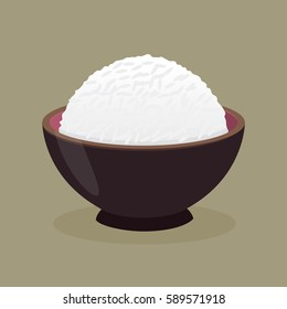 Vector stock of cooked rice in a ceramic bowl